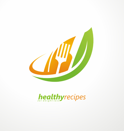nutritionist: Leaf shape with knife and fork in negative space Illustration