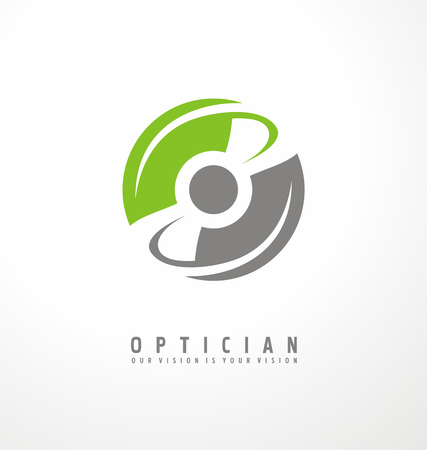 round eyes: Optician creative symbol concept