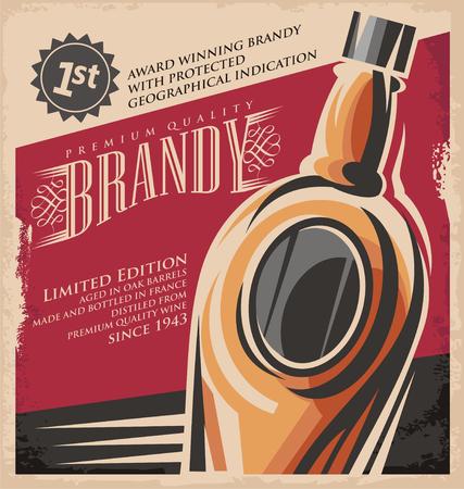 Brandy Weinleseplakat-Design-Vorlage Standard-Bild - 37244567