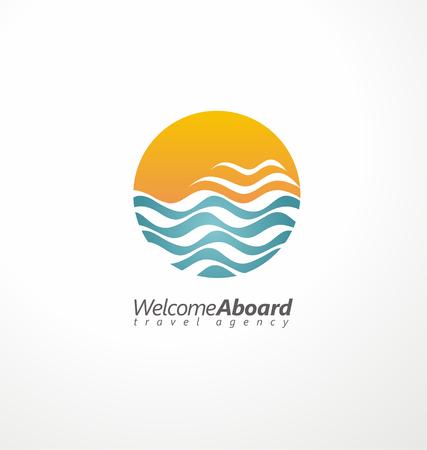 agencia de viajes: Agencia de viajes símbolo concepto creativo Vectores