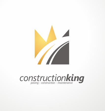king: La construcci�n de carreteras s�mbolo creativo dise�o Vectores