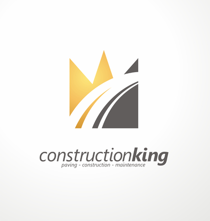 transportation company: Road construction creative symbol layout
