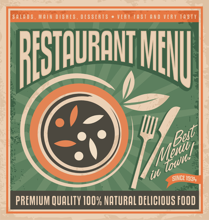 Retro restaurant menu poster design 矢量图像