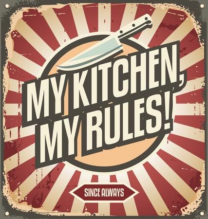 Signo de la cocina de la vendimia con el mensaje promocional Foto de archivo - 39945884