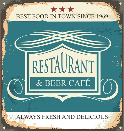 Retro tin sign for restaurant or beer cafe