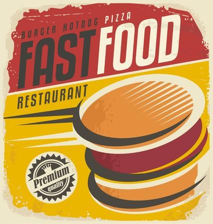 Retro fast food poster design Ilustração