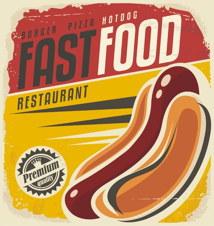 fast food restaurant: Hotdog retro poster design concept Illustration
