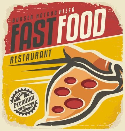 Retro Pizza-Zeichen Standard-Bild - 42099802