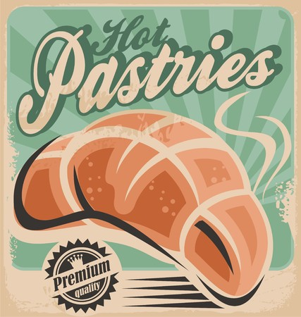 bakery: Hot pastries retro poster design Illustration