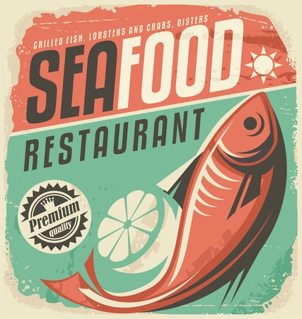 logo poisson: Fruits de mer rétro affiche de restaurant