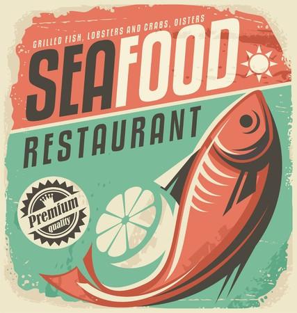 logo poisson: Fruits de mer r�tro affiche de restaurant