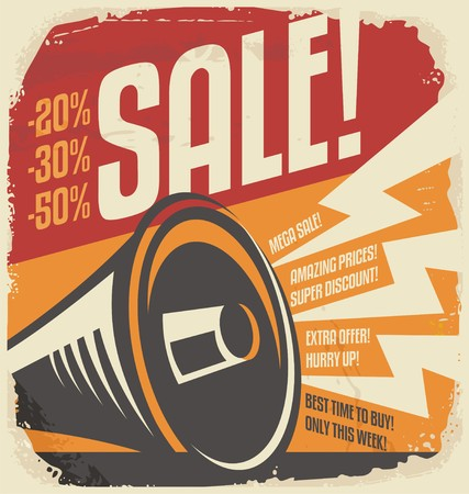 Retro sale poster design concept