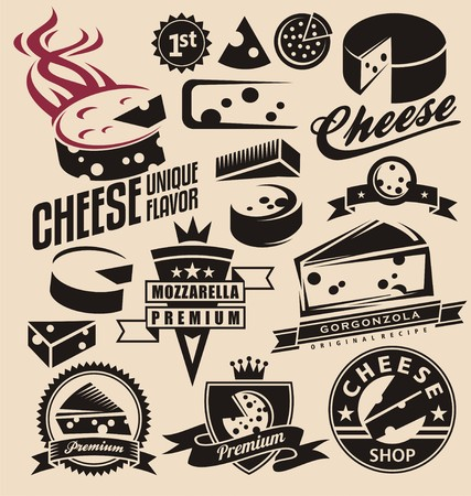 Set of cheese emblems, symbols, design concepts and icons Illustration