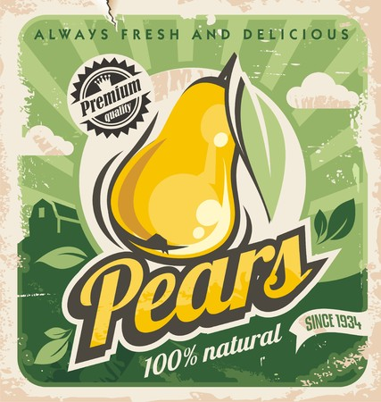 Retro pear poster design 일러스트