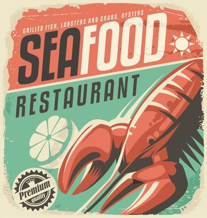 camaron: Cartel retro restaurante de marisco con langosta y rodaja de limón