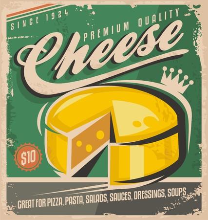 Käse-Weinlese-Plakat-Design-Vorlage Vektorgrafik