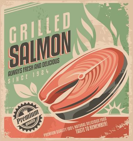 salmon steak: Grilled salmon retro poster design
