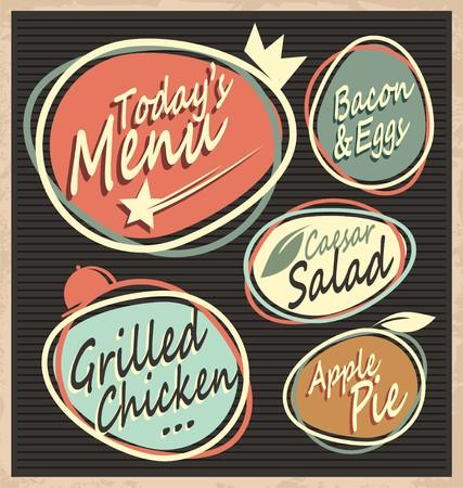 diner: Retro restaurant menu template Illustration