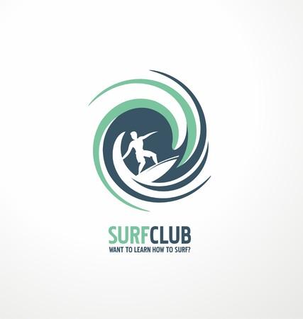 wave vector: Surfing club symbol design layout Illustration