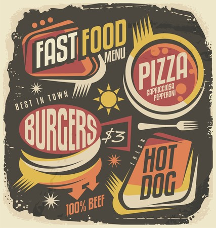 pizza: Fast food restaurant menu creative design concept Illustration
