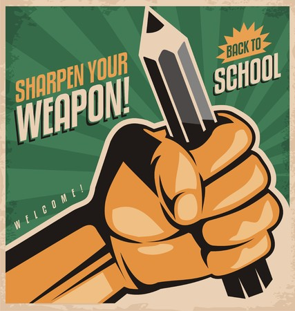 hand with pencil: Retro school poster design concept