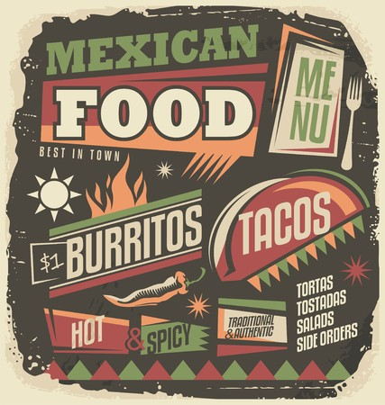 mexican food: Mexican restaurant funky menu design concept