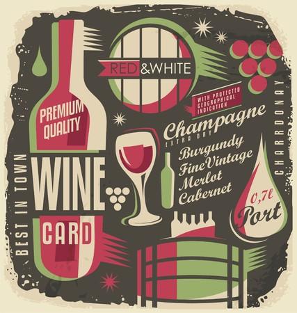 vino: Carta de Vinos concepto de diseño creativo y único Vectores