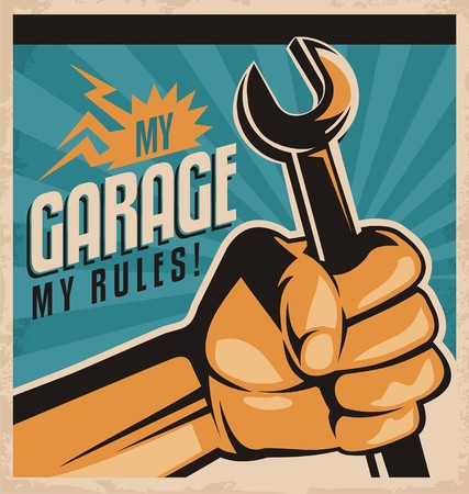 mechanic tools: Retro Garage Poster Illustration