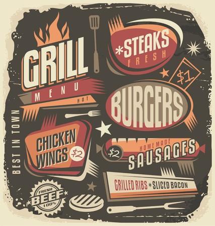 Parrilla retro plantilla de diseño de menú