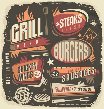 vintage sign: Retro grill menu design template