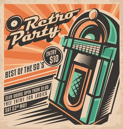 Retro party invitation design Çizim
