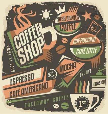 Retro krijtbord menu design template voor koffiehuis