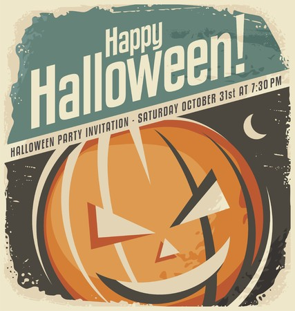 Retro poster template with Halloween pumpkin head Çizim