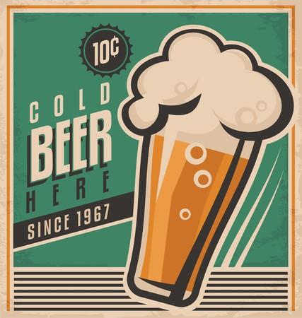 resfriado: Cartel retro de la cerveza