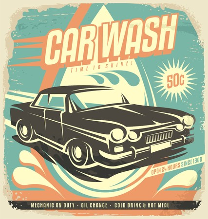 bağbozumu: Retro araba yıkama afiş tasarımı