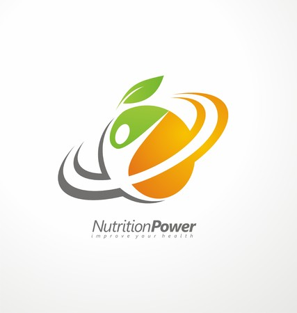 nutrition health: Organic Healthy Food creative symbol layout