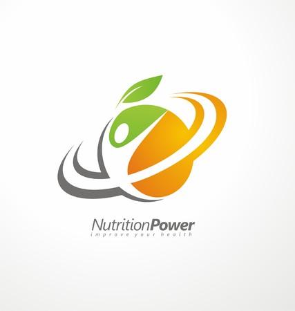 sağlık: Organik Sağlıklı Gıda yaratıcı sembol düzeni Çizim