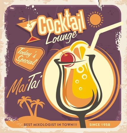 cocteles de frutas: Diseño del cartel retro para uno de los cócteles más populares