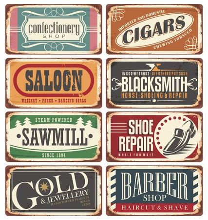 Vintage shop signs collection