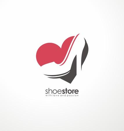 신발 가게에 대한 창조적 인 기호 개념 일러스트