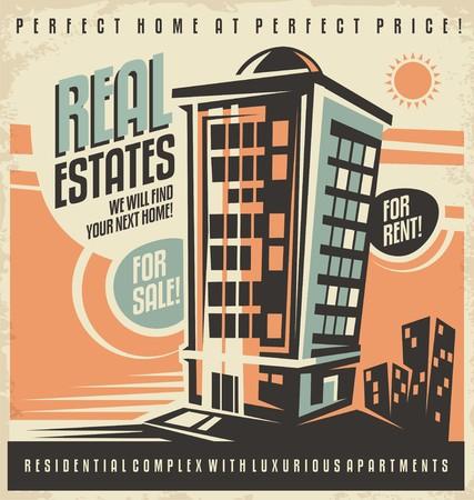 Immobilien-Weinleseanzeige Design-Konzept Vektorgrafik