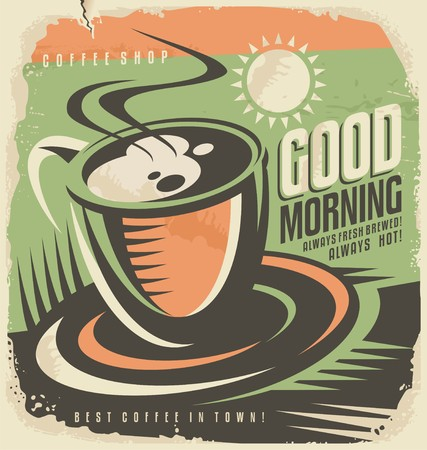coffee mugs: Retro poster design template for coffee shop
