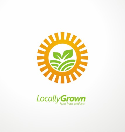 farming: Creative symbol concept with sun and sprout on the field