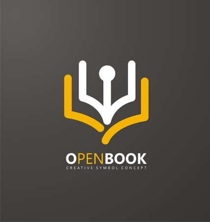 Education icon: Creative symbol concept with book and pen