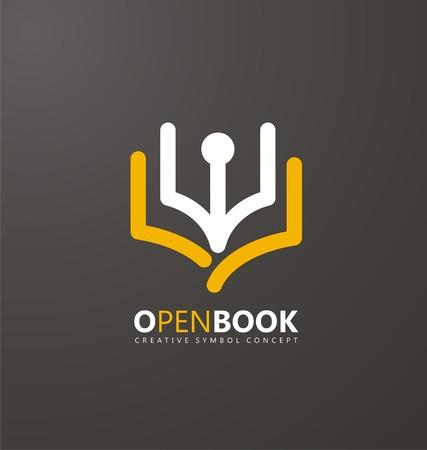 educacion: símbolo concepto creativo con el libro y la pluma