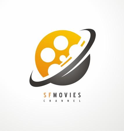 Creatieve symbool ontwerp voor film- en televisie-industrie Stock Illustratie