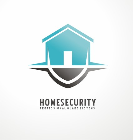 Design simbolo creativo con figura della casa, come parte dello scudo