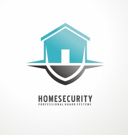 escudo: Diseño del símbolo creativo con forma de casa como parte del escudo