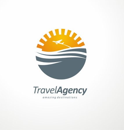 travel destination: Creative symbol design concept with sun and ocean