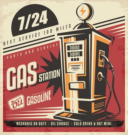 surtidor de gasolina: Diseño del cartel retro de la bomba de gas